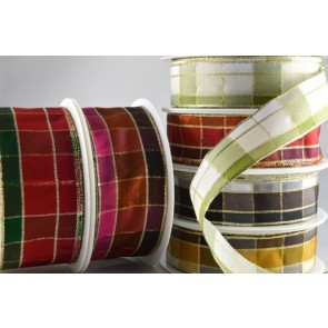 44000 - 15mm, 25mm & 40mm Wired Regal Plaid Ribbon (20 Metres)