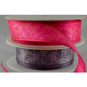 44016 - 25mm/40mm Wired Decorative Flower Ribbon x 3 Metre Rolls!!