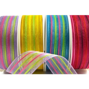 44060 - 25mm & 40mm Colour Woven Wired Florist Striped Ribbon (20 Metres)