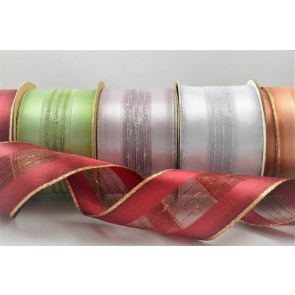 44066 - 50mm Wired Lurex Woven Ribbon x 3 Metre Rolls!