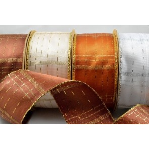 44068 - 25mm & 40mm Decorative Wired Checked Lurex (3 Metre Rolls)