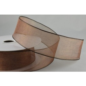44384 - 40mm Wired Brown Sheer Ribbon x 20 Metre Rolls!