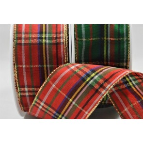 44545 - 40mm Wired Lurex Woven Tartan Ribbon (20 Metres)