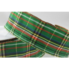 44545 - 40mm Green Wired Lurex Woven Tartan Ribbon (20 Metres)