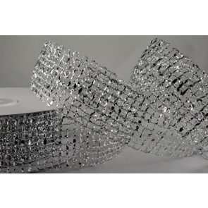 46001 - 25mm Silver Wired Lurex Mesh (10 Metres)