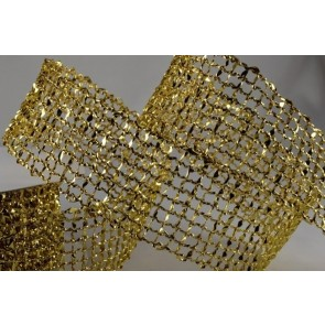 46001 - 25mm Gold Wired Lurex Mesh (10 Metres)