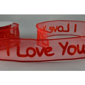 """46006 - 38mm Red Wired Sheer Printed """"I love you"""" (10 Metres)"""