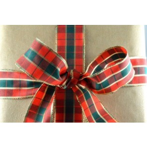 46011 - 40mm Red & Gold Wired Tartan Ribbon (20 Metres)