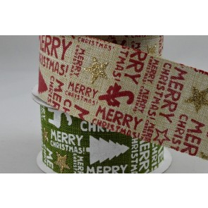 46015 - 38mm Wired Merry Christmas Tree & Star Printed Ribbon x 10 Metre Rolls!!