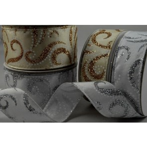 46017 - 25mm & 38mm Silver & Gold Glitter Swirling Ribbon Design x 10 Metre Rolls!