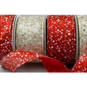 46018 - 25mm & 38mm Wired Glitter Patterned Ribbon x 10 Metre Rolls!