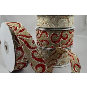 46019 - 25mm & 38mm Natural Glitter Printed Ribbon x 10 Metre Rolls!