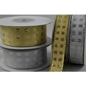 46024 - 15mm & 25mm Wired Lurex Square Ribbon x 10 Metre Rolls!