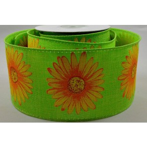63mm Wired Sunflower Ribbon x 5 Metre Rolls!