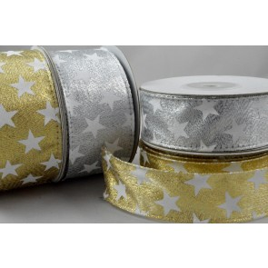 46029 - 25mm or 38mm Wired Lurex Starred Ribbon x 10 Metre Rolls!