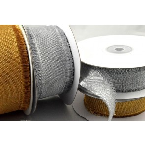 46030 - 25mm & 38mm Wired Ribbon with Fringed Edges x 10 Metre Rolls!