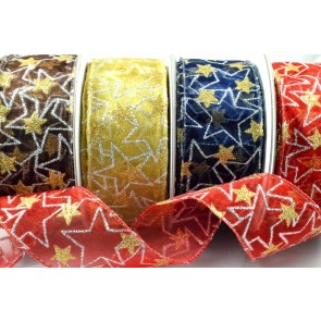 46031 - 38mm Wired Sheer Glitter Star Ribbon x 10 Metre Rolls!