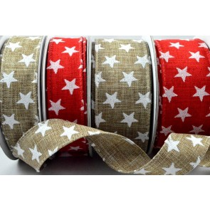 46033 - 25mm or 38mm Wired Star Printed Ribbon x 10 Metre Rolls!