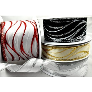 46034 - 25mm, 38mm & 63mm Wired Lurex Wavey Ribbon x 10 Metre Rolls!