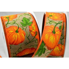 46035 - 38mm & 63mm Wired Pumpkin Ribbon x 10 Metre Rolls!