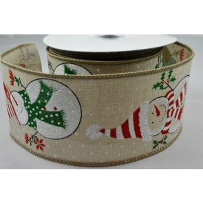 46036 - 63mm Wired Snowman Burlap Printed Ribbon x 10 Metre Rolls!