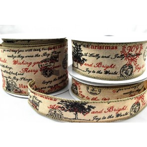 46037 - 25mm, 38mm & 63mm Wired Burlap Merry Christmas Postal Ribbon x 10 Metre Rolls!