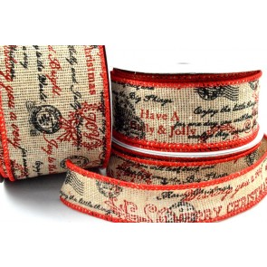 46038 - 25mm, 38mm & 63mm Wired Merry Christmas Scroll Burlap Ribbon x 10 Metre Rolls!