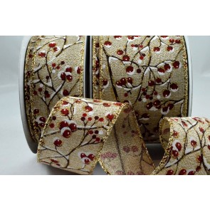 46039 - 38mm & 63mm Wired Snow Covered Holly Berries Ribbon x 10 Metre Rolls!