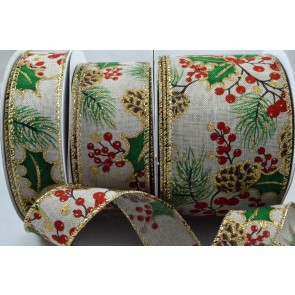 46041 - 25, 38 & 63mm Wired Holly Leaf & Berries Burlap Printed Ribbon x 10 Metre Rolls!