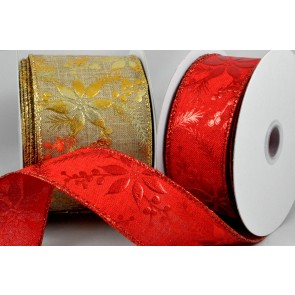 46042 - 38mm & 63mm Wired Christmas Burlap Floral Ribbon x 10 Metre Rolls!