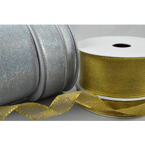 46044 - 10mm, 16mm, 25mm, 38mm & 63mm Wired Coloured Mesh Ribbon x 10 Metre Rolls!