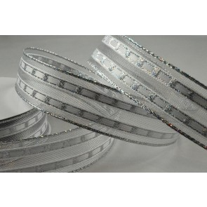 25mm Silver Wired Lurex Lined Ribbon x 10 Metre Rolls!