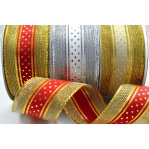 38mm Wired Lurex Ribbon with Central Polka Dot Design x 10 Metre Rolls!
