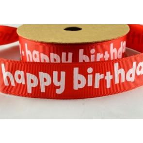 54015 - 22mm Red Happy Birthday Ribbon (10 Metres)