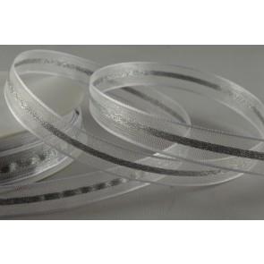 54094 - 12mm White Lurex Woven Sheer Ribbon (20 Metres)