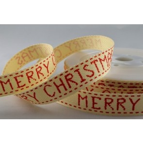 54257 - 15mm Red Merry Christmas Classic Ribbon (20 Metres)