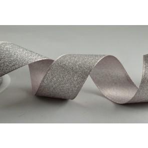 54259 - 25mm Silver Satin Glitter Ribbon (20 Metre Rolls)