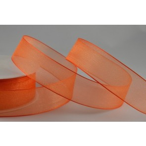 54419 - 25mm Orange Organza Sheer Ribbon x 25 Metre Rolls!