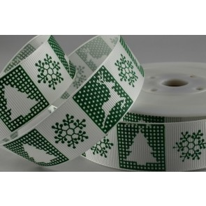 54590 - 25mm Green Grosgrain Reindeer Ribbon (20 Metres)