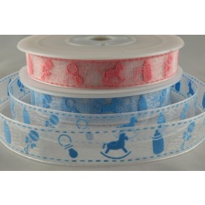 55004 - 15mm Sheer Baby Design Printed Ribbon (20 Metres)