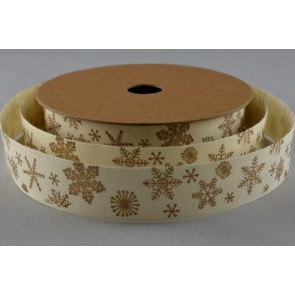 55012 - 15mm Snowflake Printed Cotton Ribbon (10 Metres)-15mm-50 Cream-10 Metres