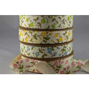 55015 - 15mm Cotton Cream Printed Floral Ribbon (10 Metres)
