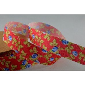 55016 - 15mm Red Coloured Flower Print Ribbon (10 Metres)