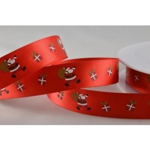 55017 - 15mm Red Santa & Presents Satin Ribbon (20 Metres)