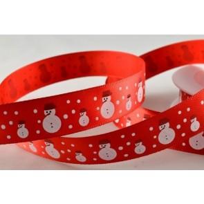 55018 - 15mm Red Snowman & Snowflakes Satin (20 Metres)