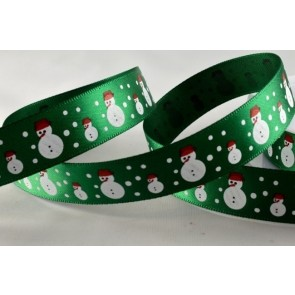 55018 - 15mm Green Snowman & Snowflakes Satin (20 Metres)