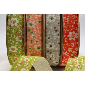 55019 - 15mm Coloured Floral Cotton Ribbon x 10 Metre Rolls!