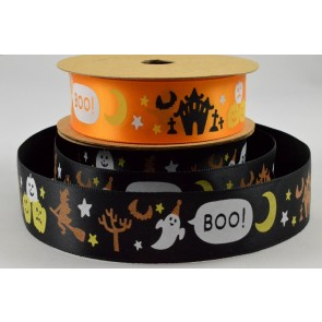 55027/55028 - 25mm Halloween Ghost Boo Pumpkin Printed Satin Ribbon x 10 Metre Rolls!!
