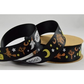 55027 - 25mm Black Halloween Ghost Boo Pumpkin Printed Satin Ribbon x 10 Metre Rolls!!