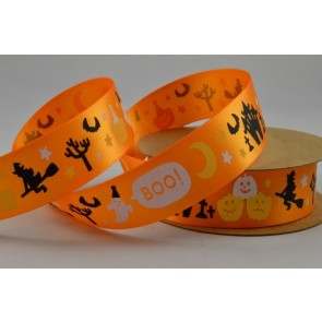 55028 - 25mm Orange Halloween Ghost Boo Pumpkin Printed Satin Ribbon x 10 Metre Rolls!!